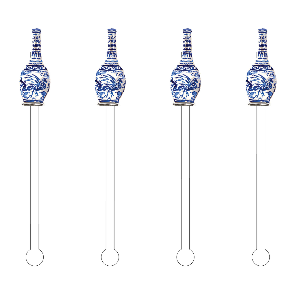 SORORI BLUE & WHITE VASE ACRYLIC STIR STICKS