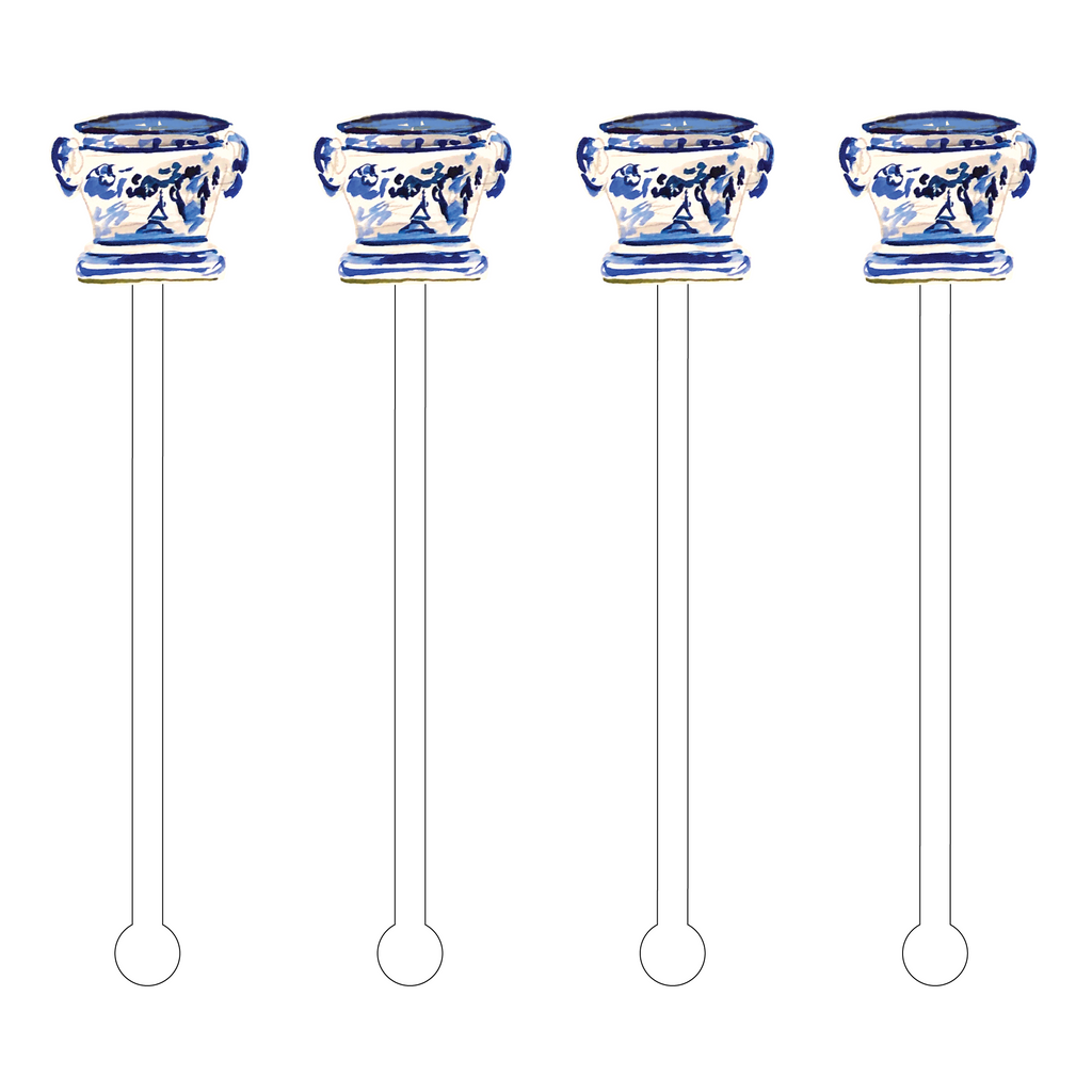 BELL CRATER BLUE & WHITE VASE ACRYLIC STIR STICKS