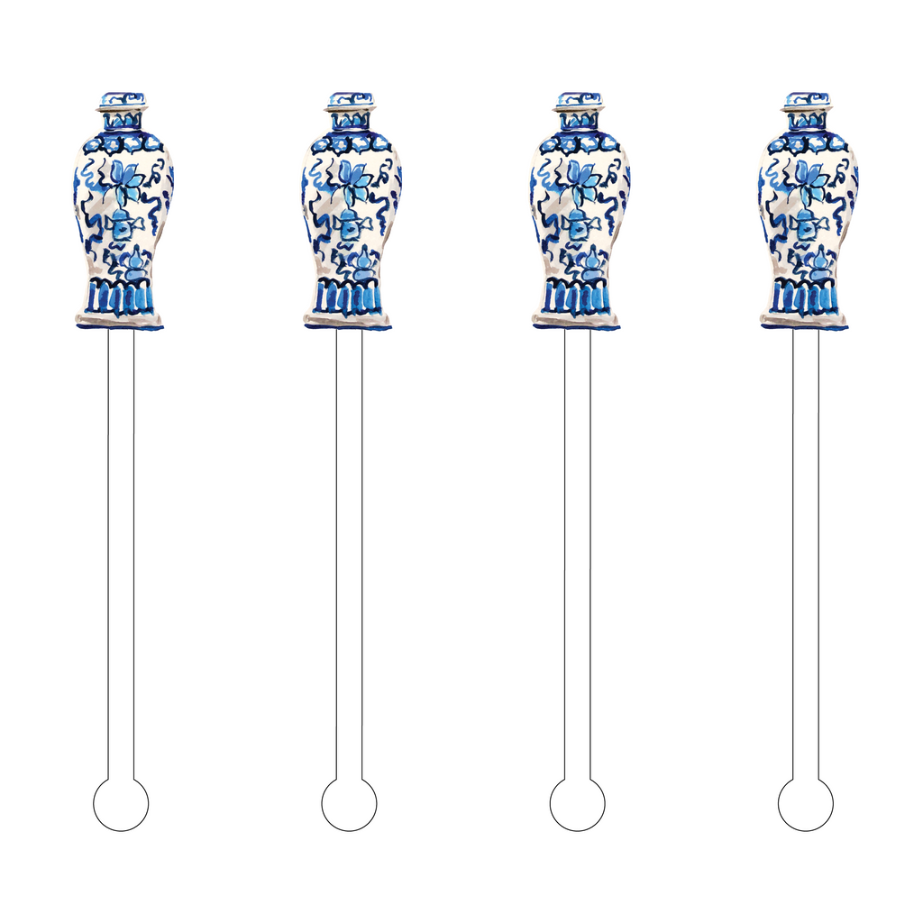 AMPHORA BLUE & WHITE VASE ACRYLIC STIR STICKS