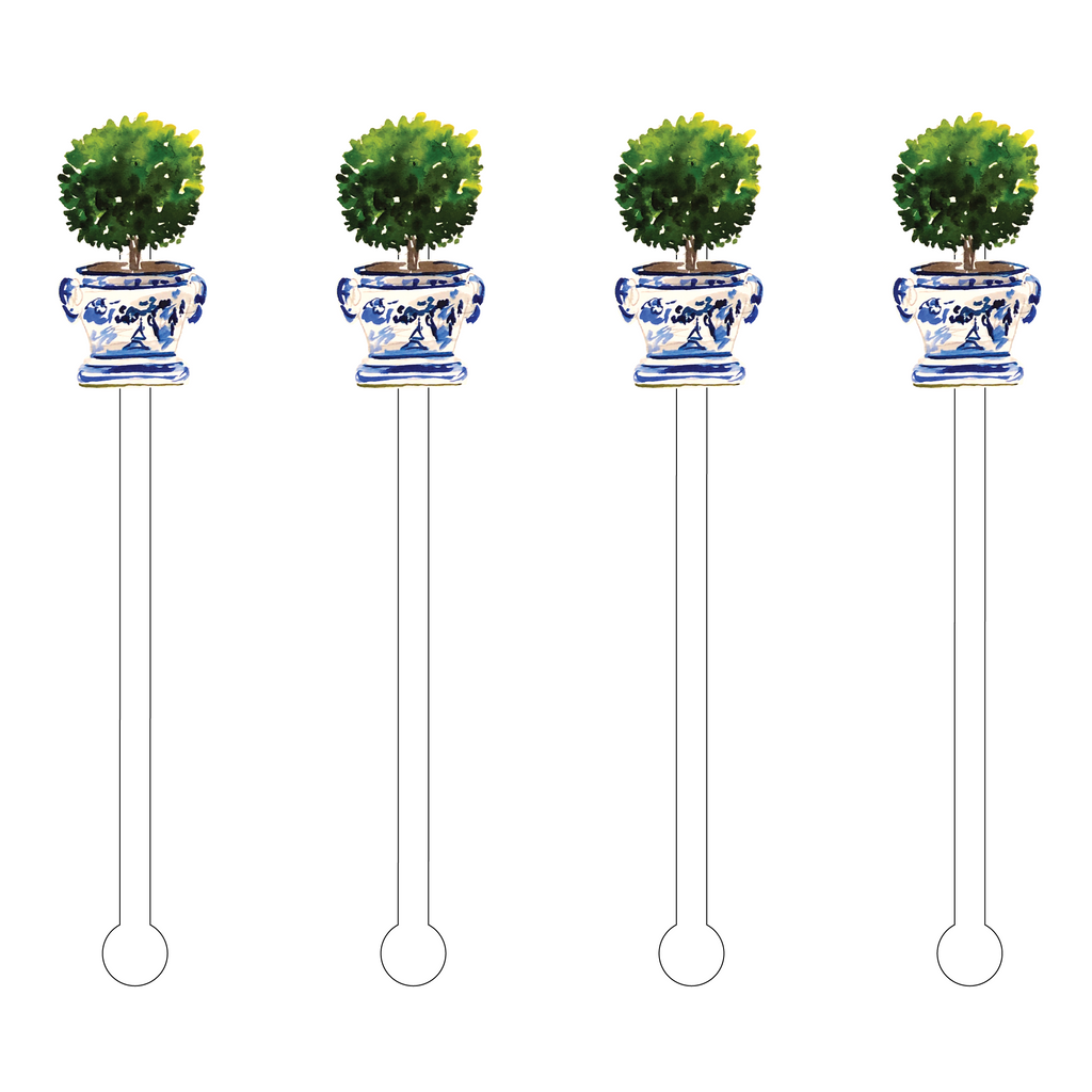 ROUND BOXWOOD TOPIARY ACRYLIC STIR STICKS