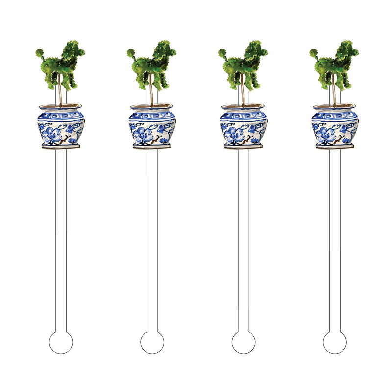 POODLE TOPIARY ACRYLIC STIR STICKS