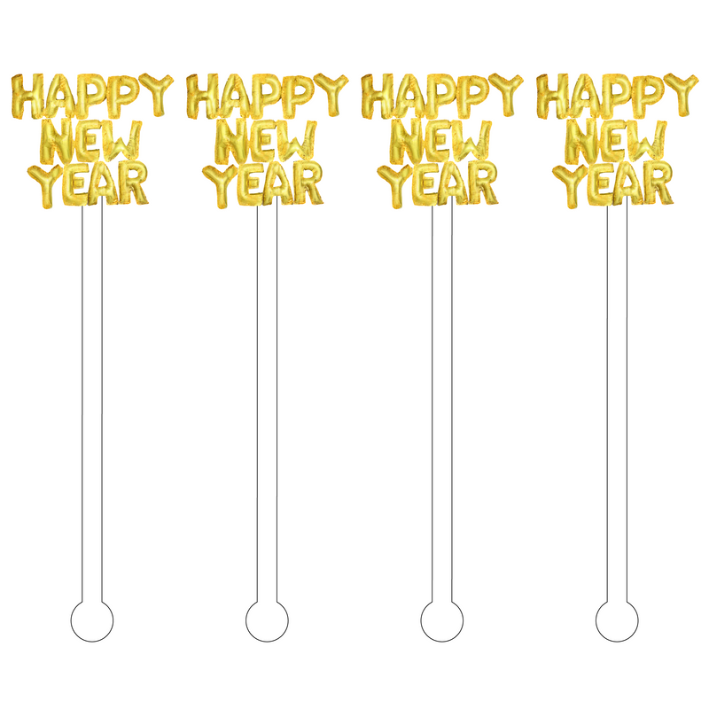 HAPPY NEW YEAR GOLD HELIUM BALLOONS ACRYLIC STIR STICKS