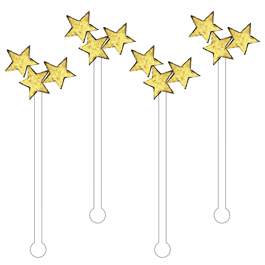 GOLD STARS ACRYLIC STIR STICKS