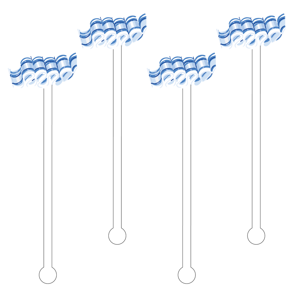 BLUE & WHITE RIBBON CANDY ACRYLIC STIR STICKS