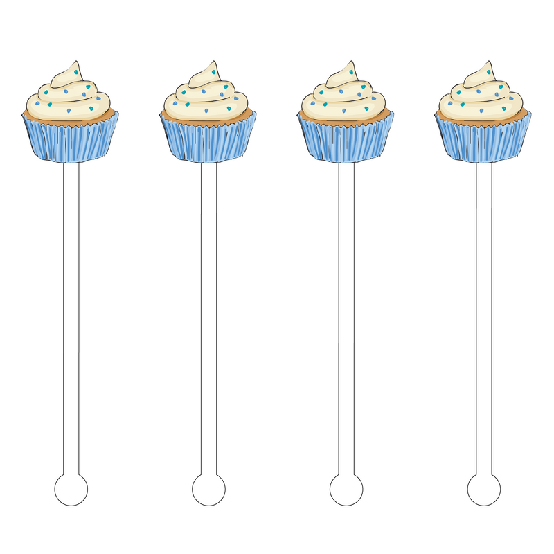 BLUE SPRINKLE CUPCAKE ACRYLIC STIR STICKS
