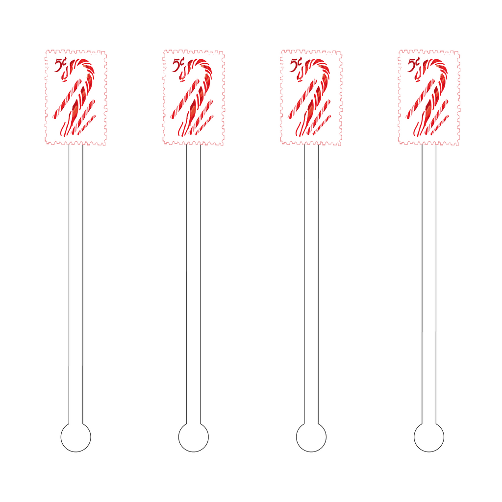 CANDY CANE STAMP ACRYLIC STIR STICKS