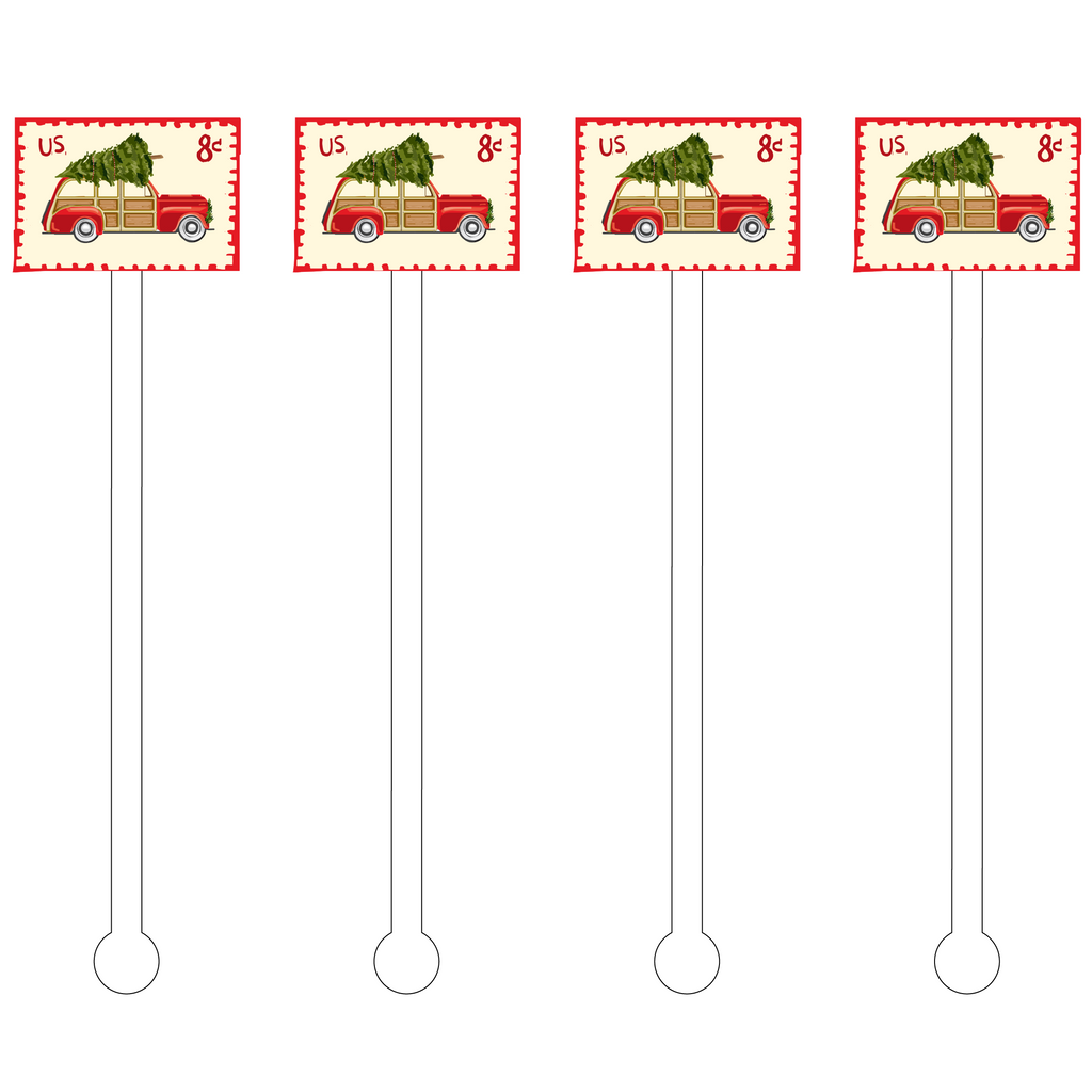 CHRISTMAS FAMILY WAGON STAMP ACRYLIC STIR STICKS