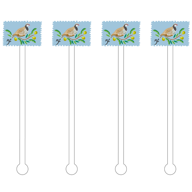 PARTRIDGE IN A PEAR TREE STAMP ACRYLIC STIR STICKS