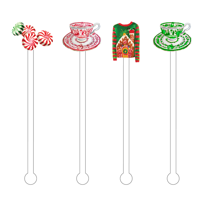 UGLY XMAS TEA TIME ACRYLIC STIR STICKS COMBO*