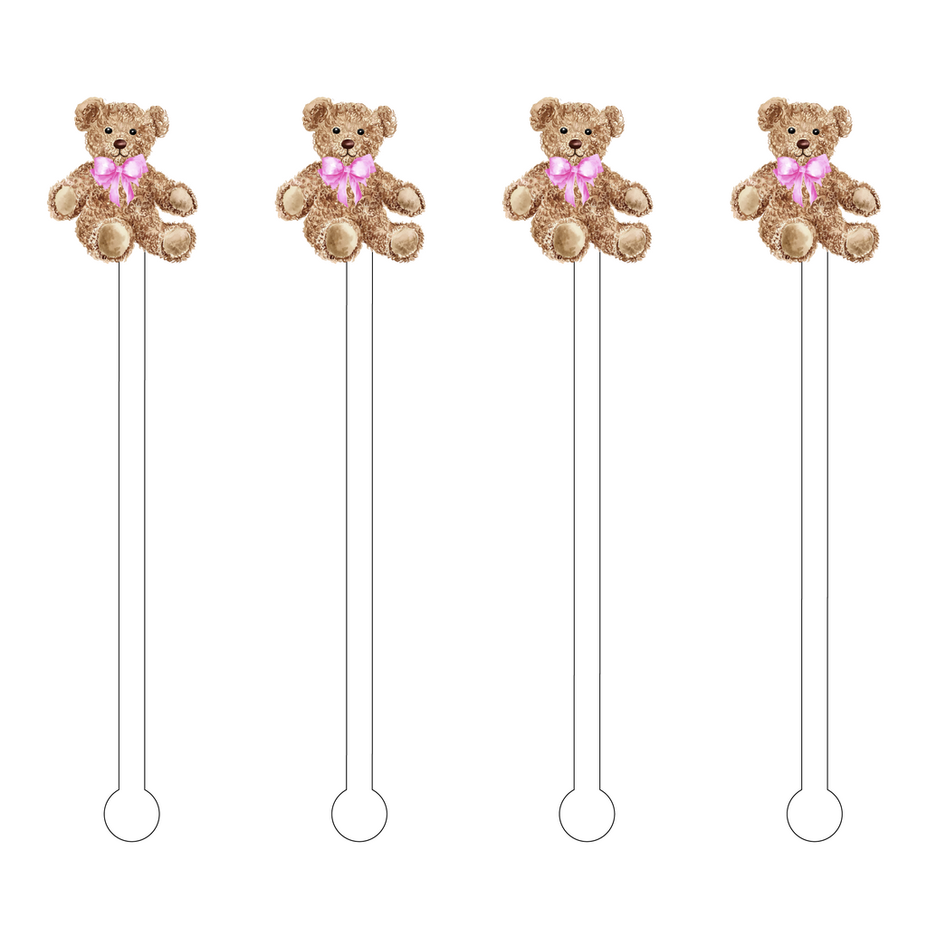 TOO CUTE TEDDY BEAR ACRYLIC STIR STICKS