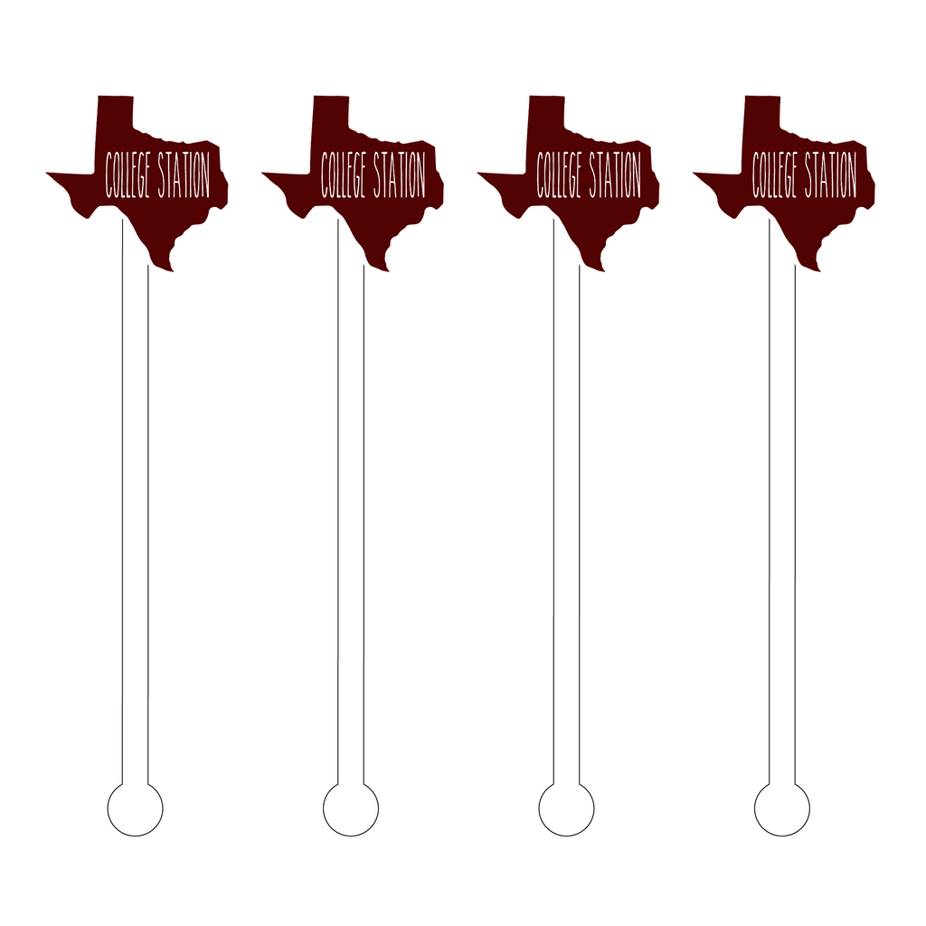COLLEGE STATION, TX ACRYLIC STIR STICKS