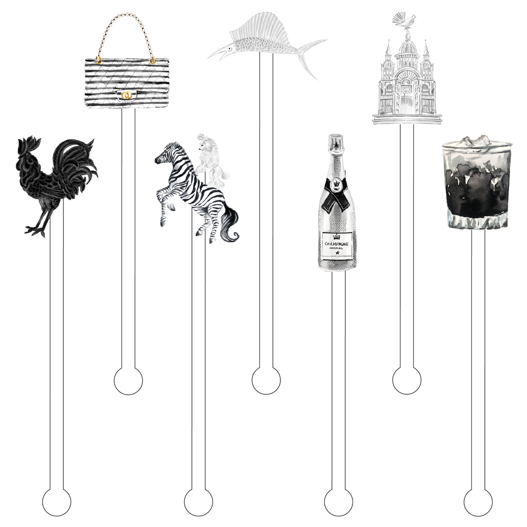 BLACK & WHITE AVANT COLLECTION ACRYLIC STIR STICKS COMBO*
