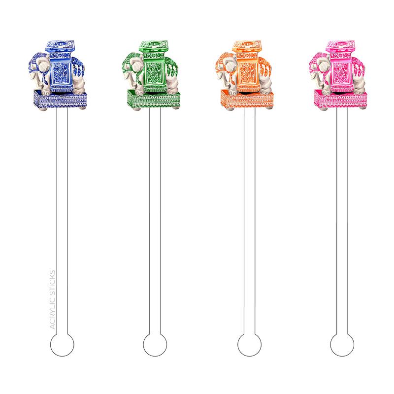 COLORFUL CERAMIC ELEPHANTS ACRYLIC STIR STICKS COMBO