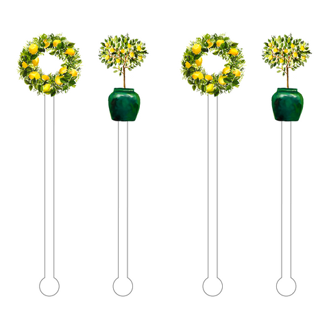POODLE TOPIARIES ACRYLIC STIR STICKS COMBO