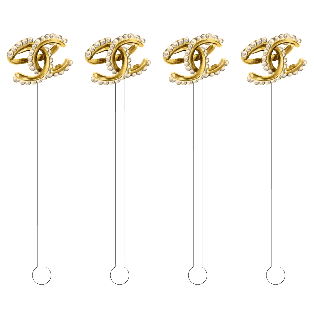 DESIGNER CC GOLD RING ACRYLIC STIR STICKS