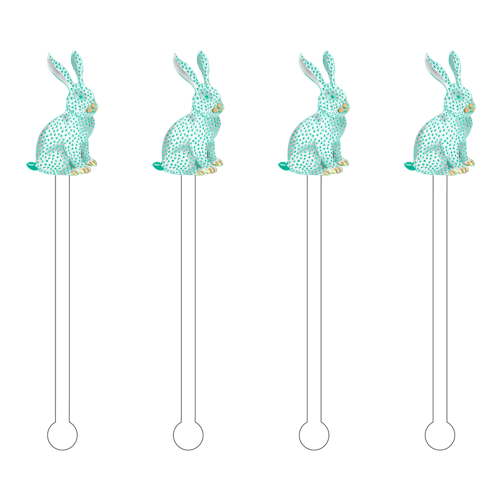 SEAFOAM HEREND BUNNY ACRYLIC STIR STICKS