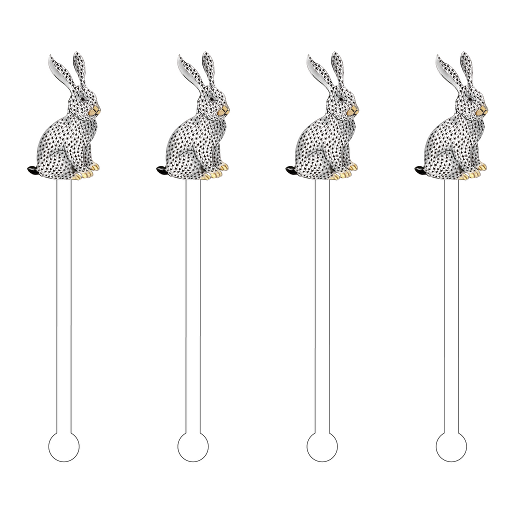 BLACK HEREND BUNNY ACRYLIC STIR STICKS