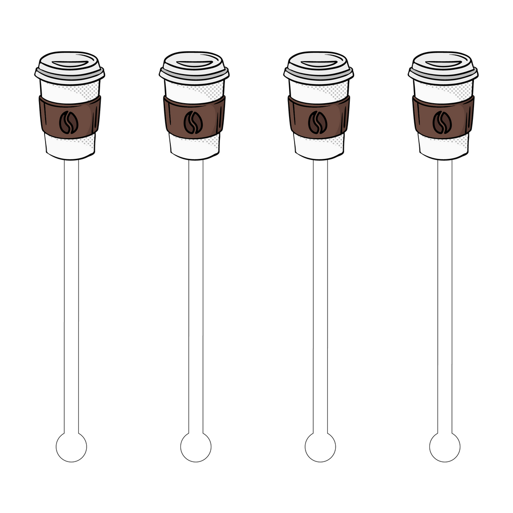 COFFEE TO GO POP ART ACRYLIC STIR STICKS