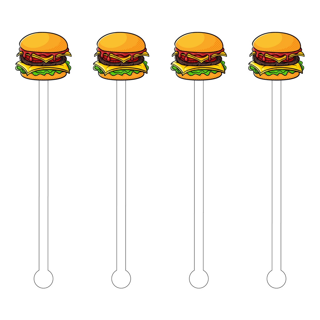 CHEESEBURGER POP ART ACRYLIC STIR STICKS