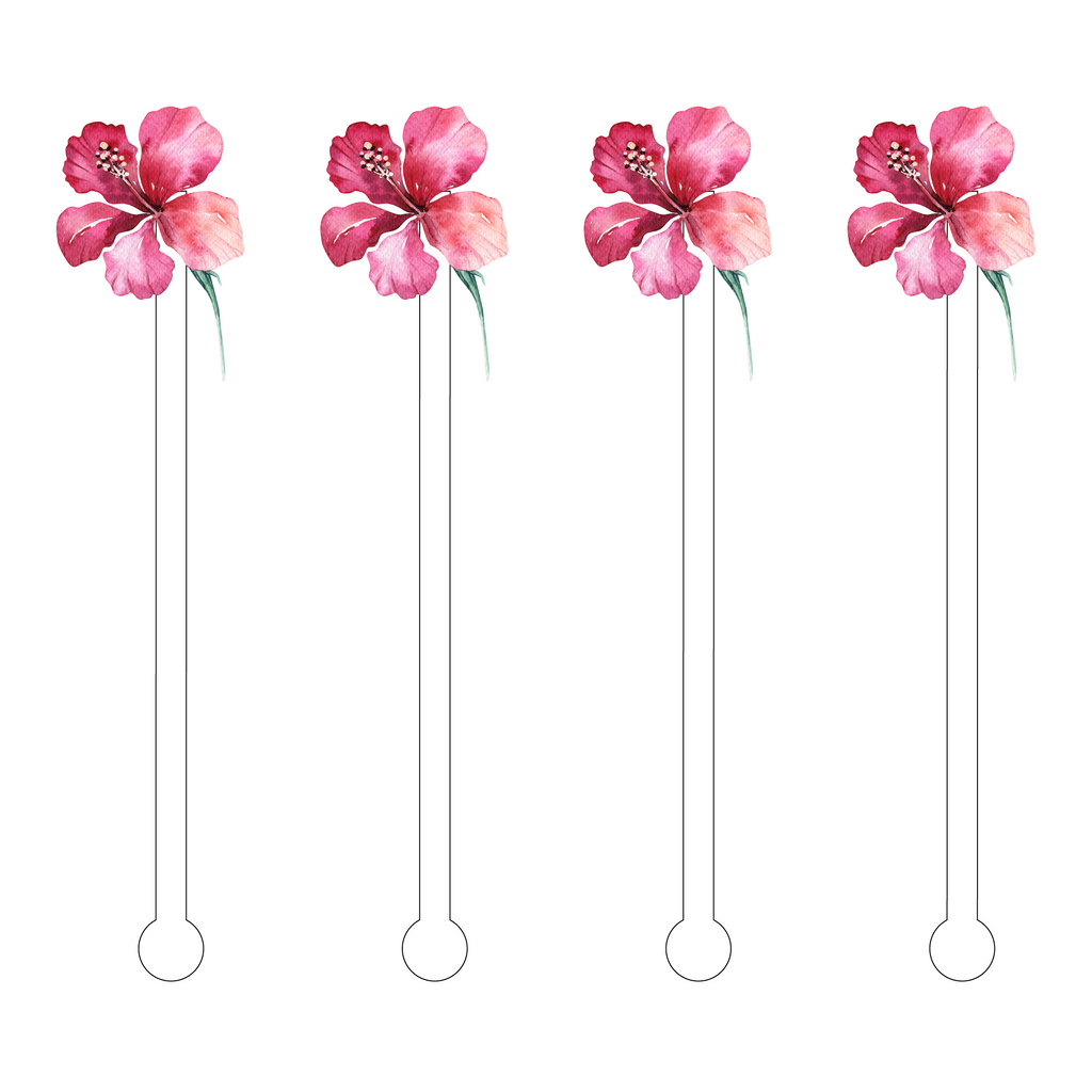 PINK HIBISCUS ACRYLIC STIR STICKS