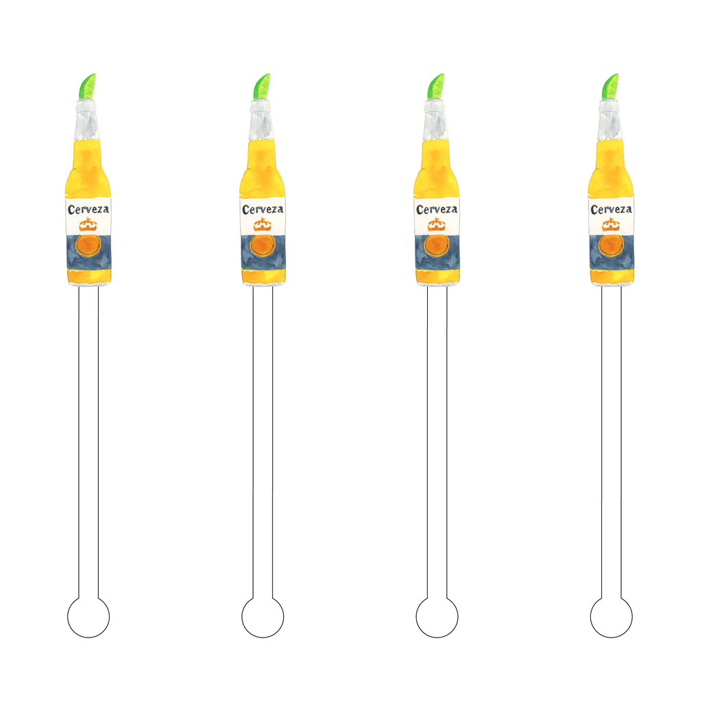 CERVEZA WITH LIME ACRYLIC STIR STICKS
