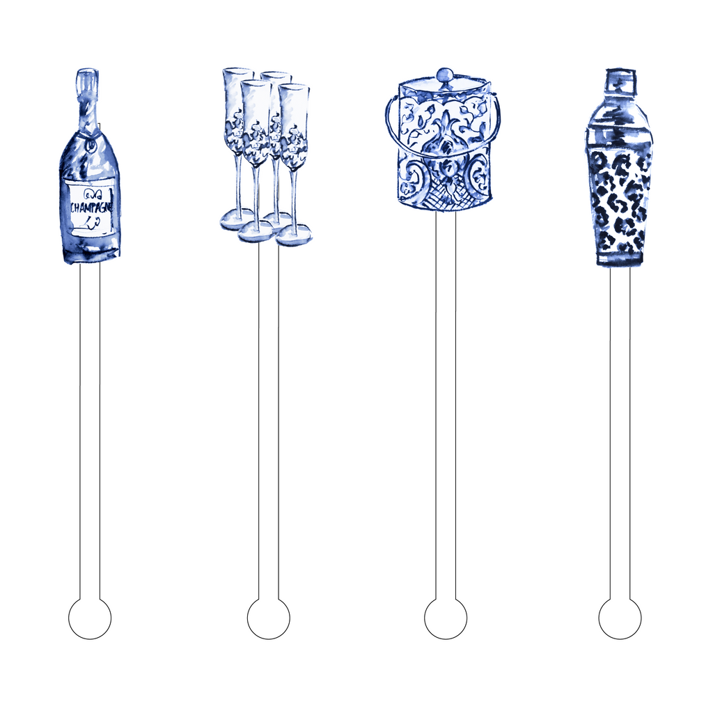 BLUE & WHITE FOREVER BAR DOODADS ACRYLIC STIR STICKS COMBO