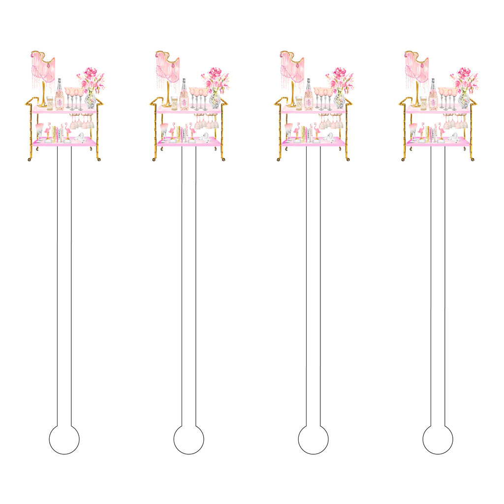 FLAMINGO 'SHI SHI' ROUGE BAR CART ACRYLIC STIR STICKS