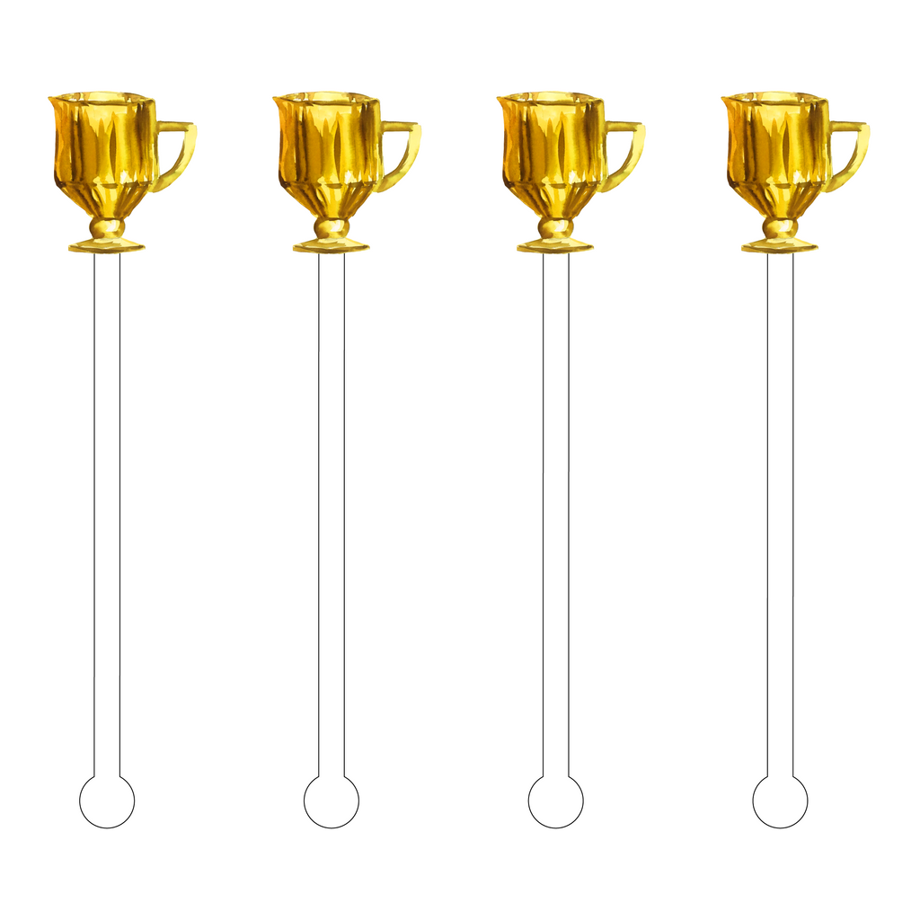 GOLD GLASS PITCHER ACRYLIC STIR STICKS