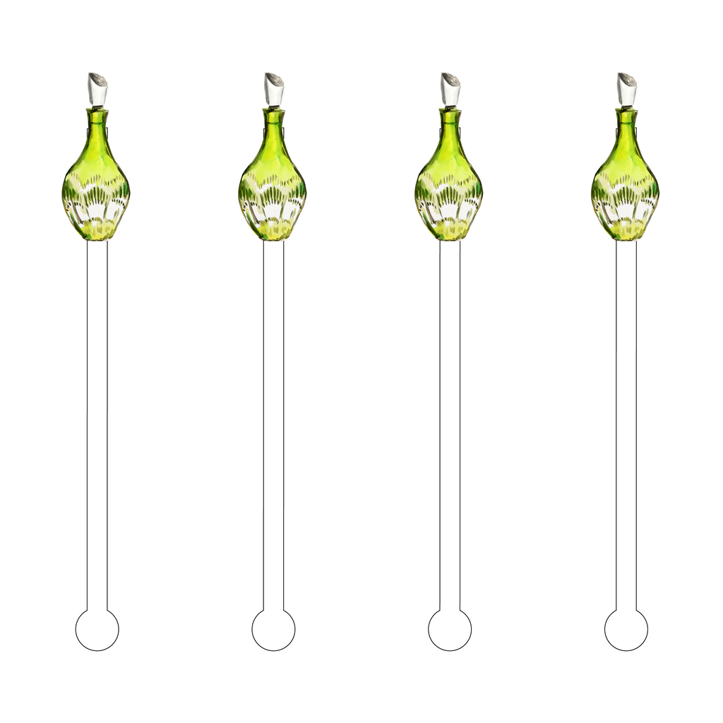 CRYSTAL GREEN DECANTER ACRYLIC STIR STICKS