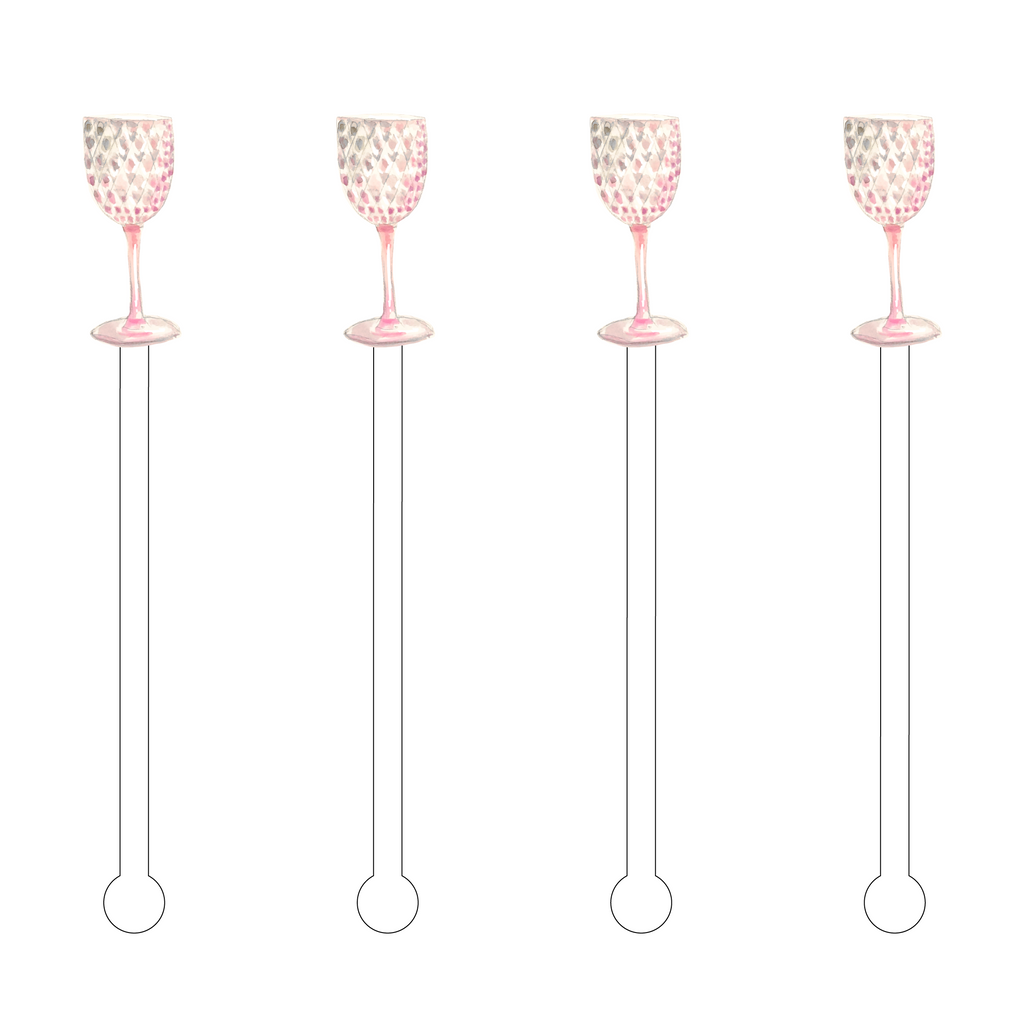 PINK CRYSTAL WATER GOBLET ACRYLIC STIR STICKS