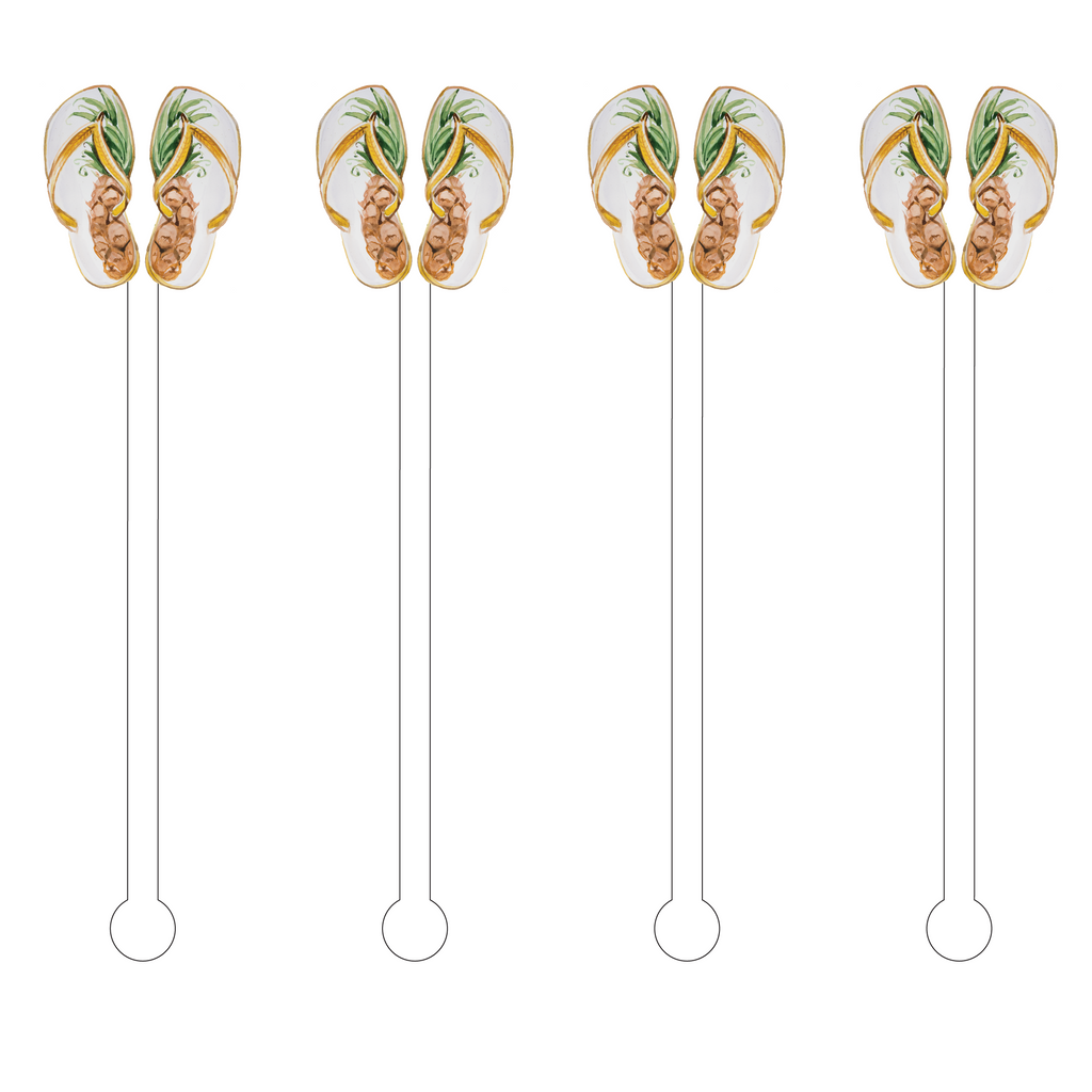 PINEAPPLE FLIP FLOPS ACRYLIC STIR STICKS