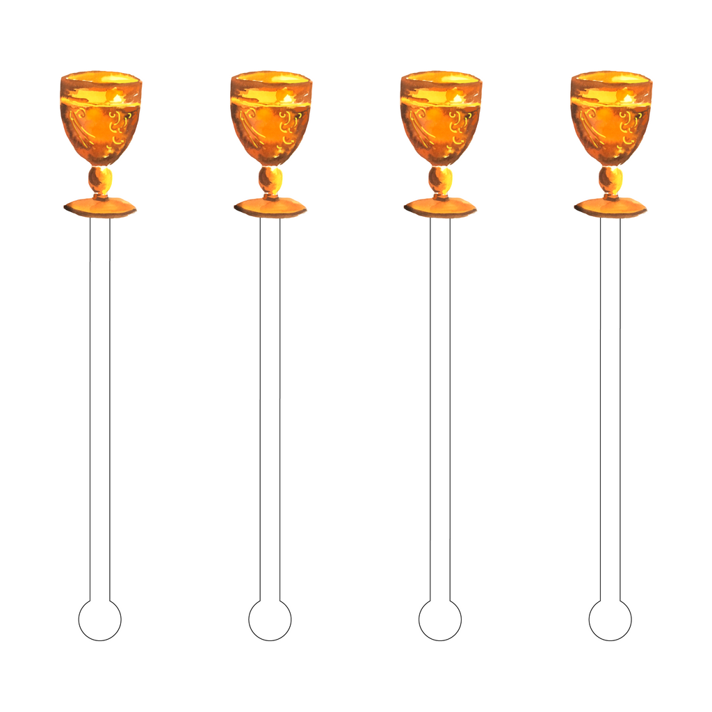 ORANGE GOBLET ACRYLIC STIR STICKS