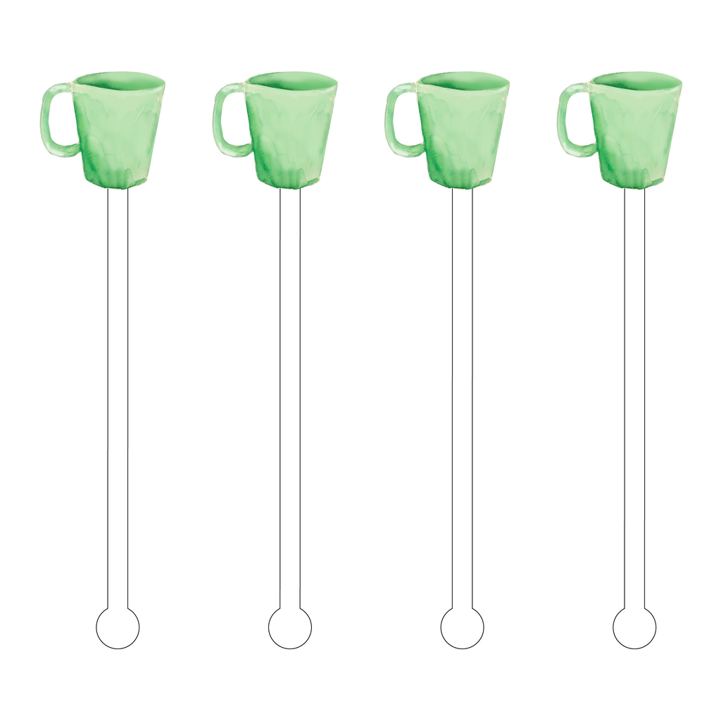 GREEN MILKGLASS MUG ACRYLIC STIR STICKS