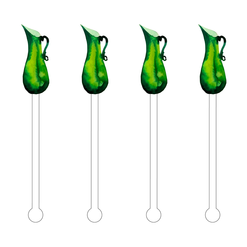 GREEN GLASS PITCHER ACRYLIC STIR STICKS