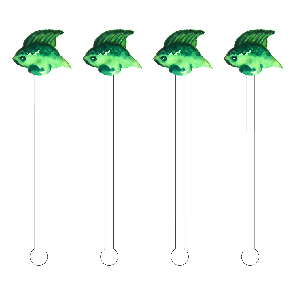 GREEN FISH ACRYLIC STIR STICKS