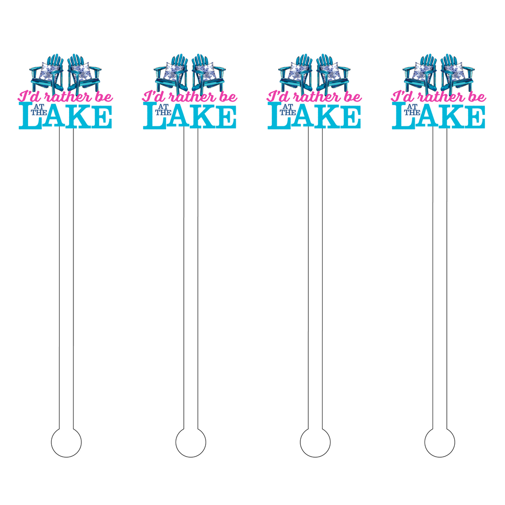 I'D RATHER BE AT THE LAKE ADIRONDACK CHAIR ACRYLIC STIR STICKS