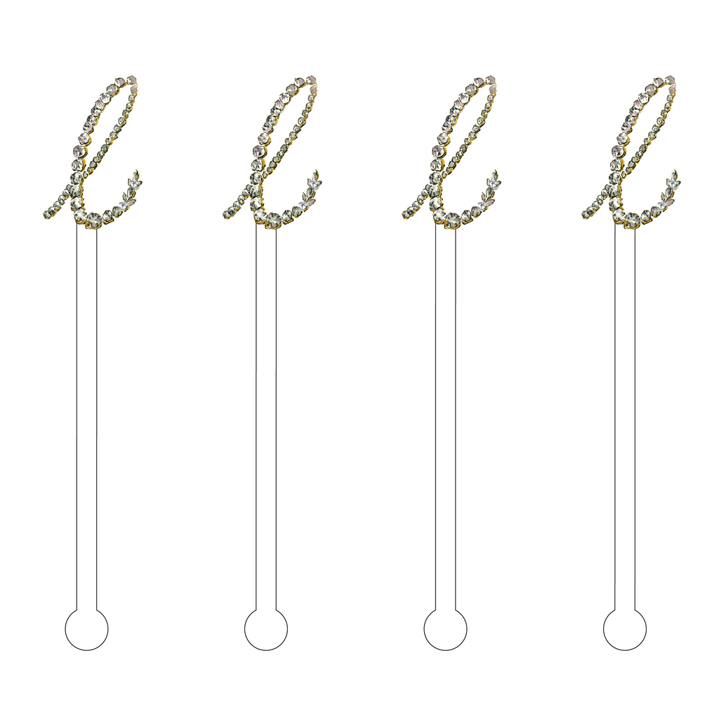 LITTLE 'L' JEWELED MONOGRAM ACRYLIC STIR STICKS