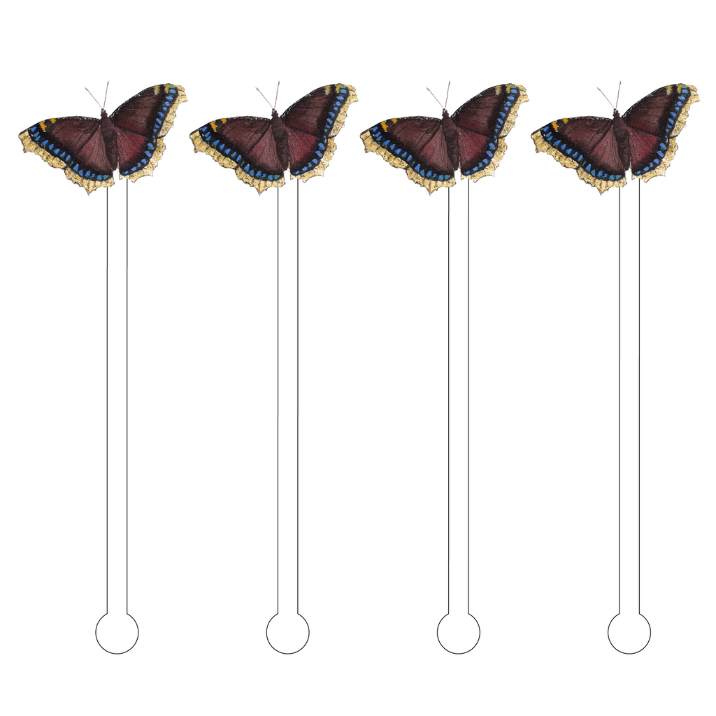 MOURNING CLOAK BUTTERFLY ACRYLIC STIR STICKS*