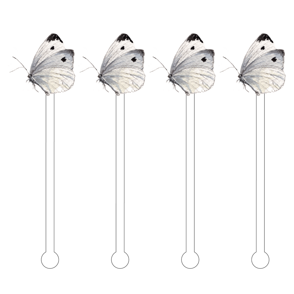 CABBAGE WHITE BUTTERFLY ACRYLIC STIR STICKS*
