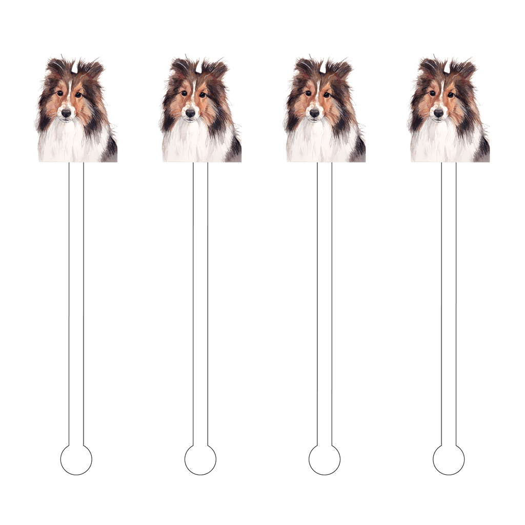 COLLIE DOG ACRYLIC STIR STICKS*