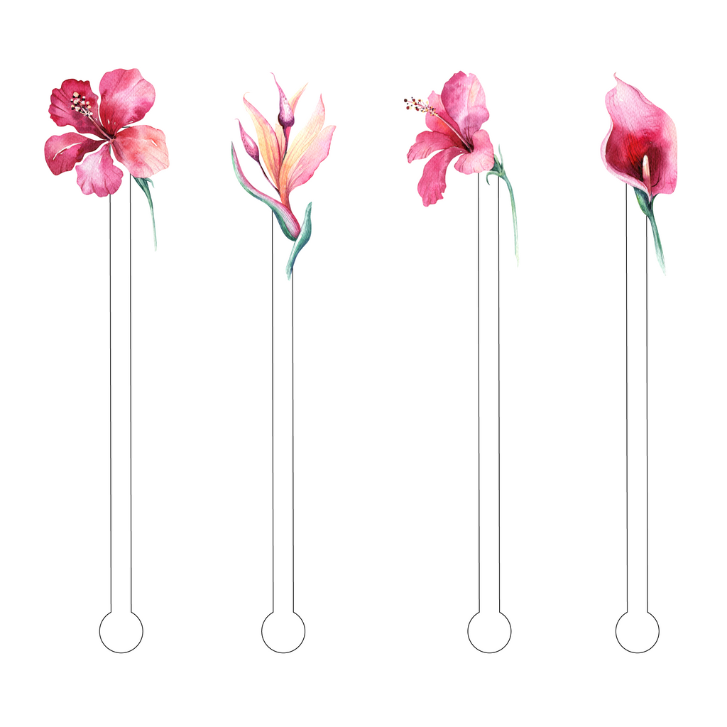 TOTALLY TROPICS FLOWERS ACRYLIC STIR STICKS COMBO