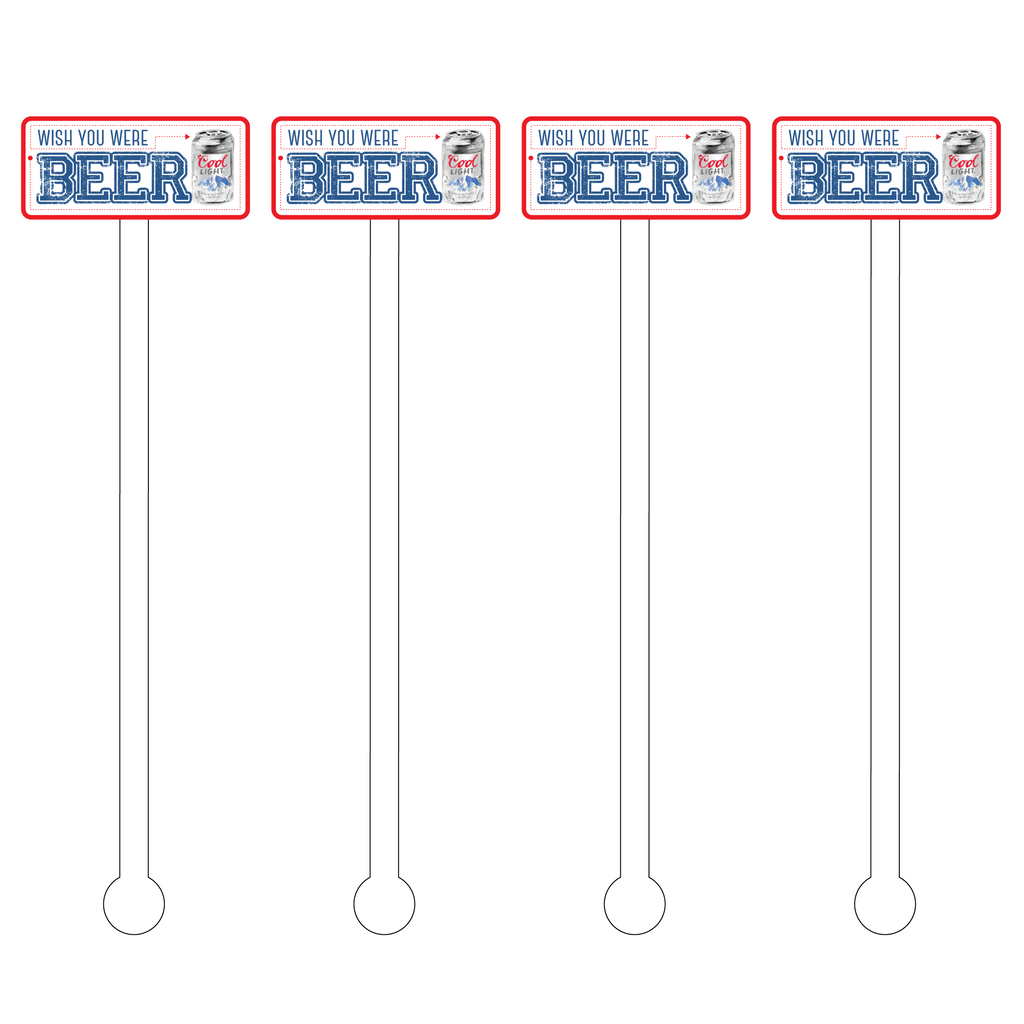 WISH YOU WERE BEER ACRYLIC STIR STICKS