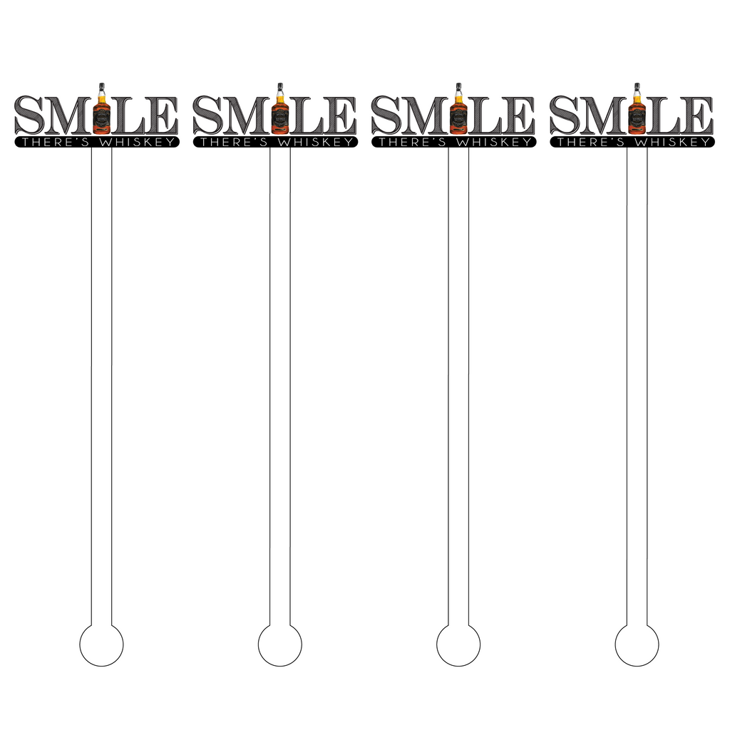 SMILE, THERE'S WHISKEY ACRYLIC STIR STICKS