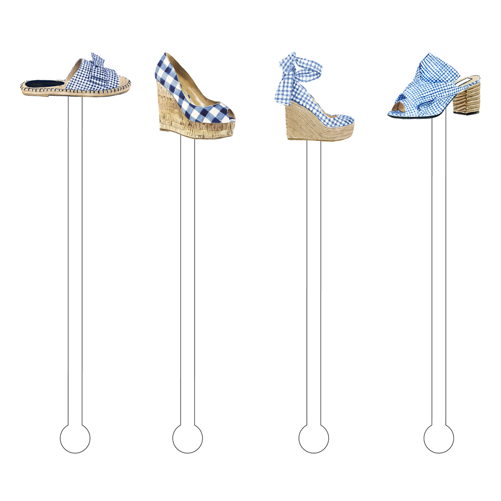 GORGEOUS GINGHAM FOOTWEAR ACRYLIC STIR STICKS COMBO