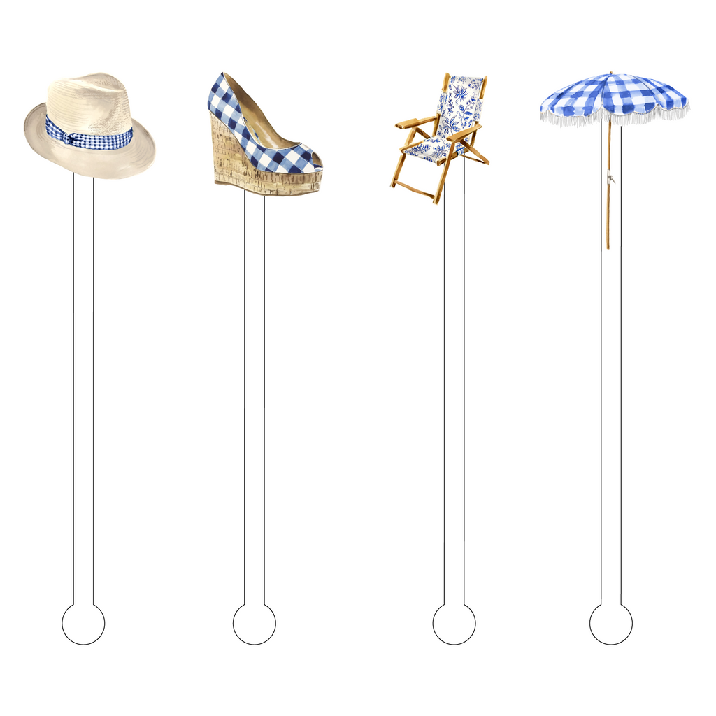TRENDY GINGHAM BY THE POOL ACRYLIC STIR STICKS COMBO