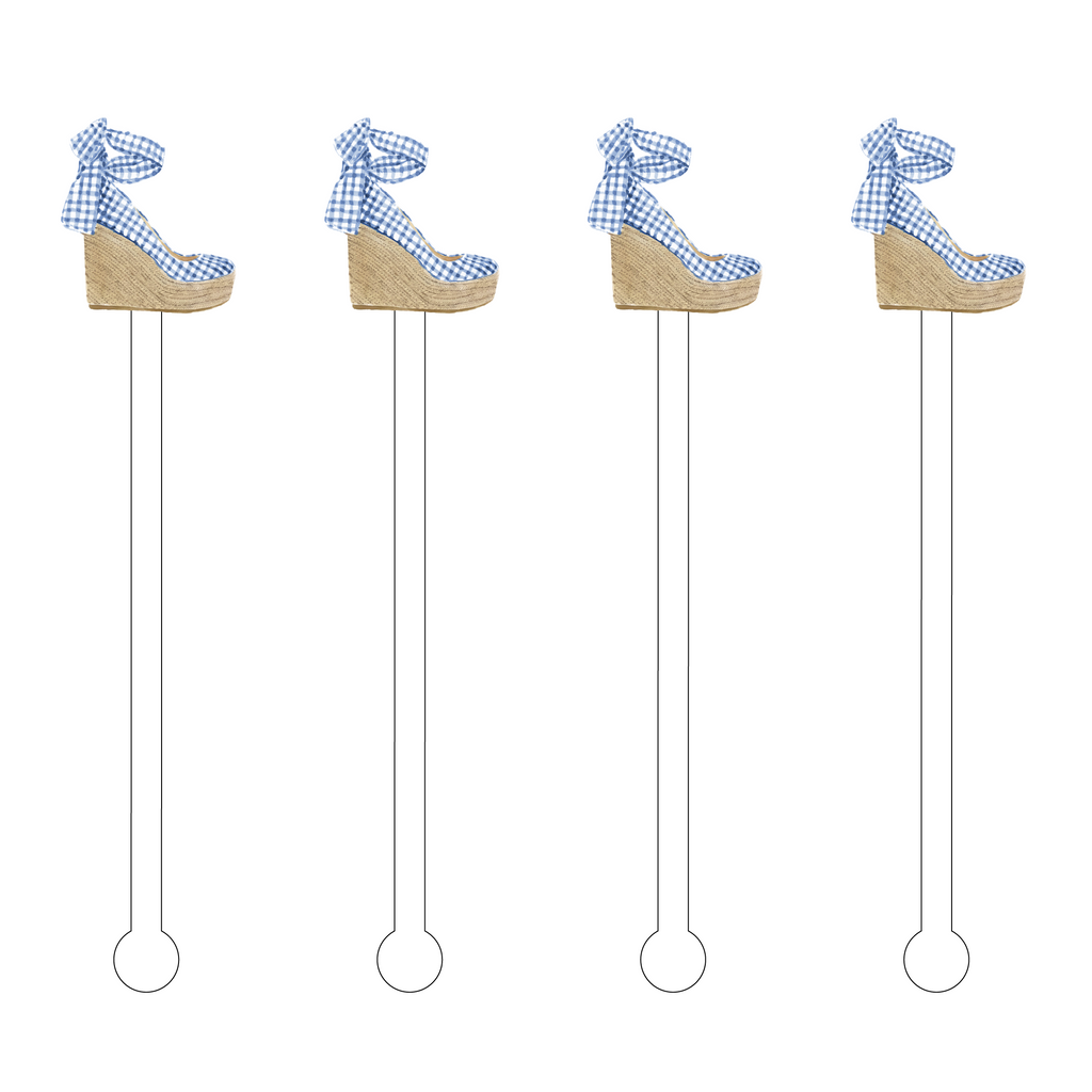 GINGHAM BOW WEDGE ACRYLIC STIR STICKS