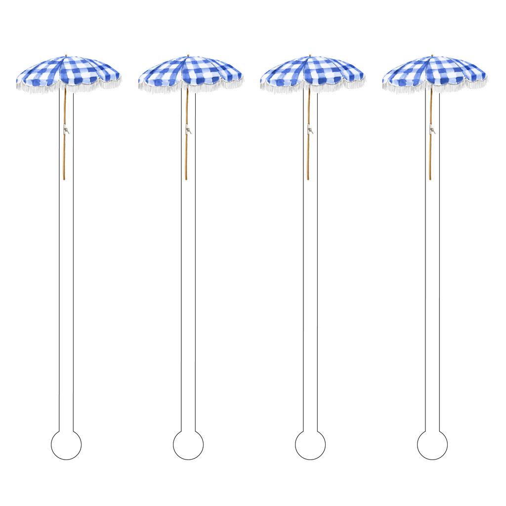 GINGHAM PATIO UMBRELLA ACRYLIC STIR STICKS