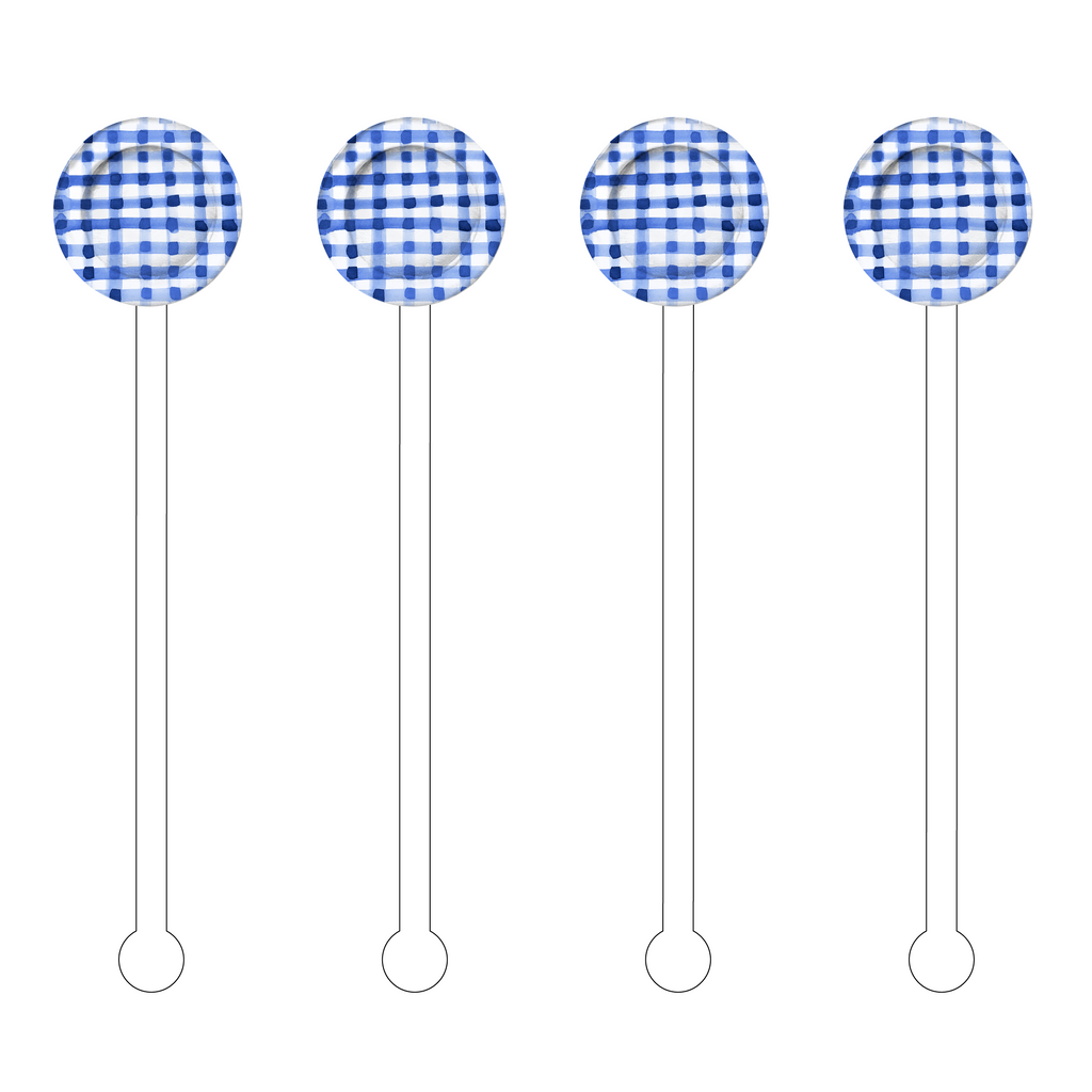 BLUE & WHITE GINGHAM CHARGER ACRYLIC STIR STICKS