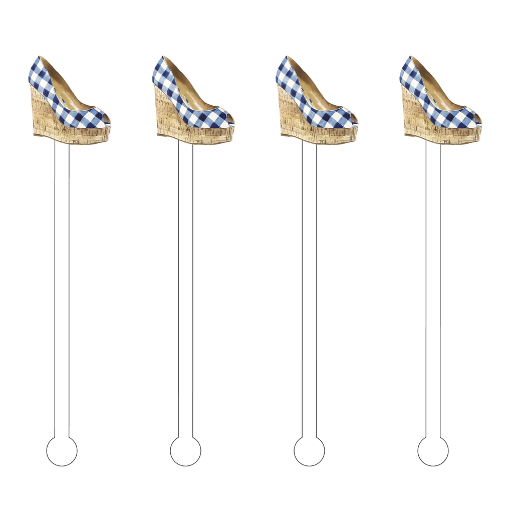 GINGHAM PEEP-TOE WEDGE ACRYLIC STIR STICKS
