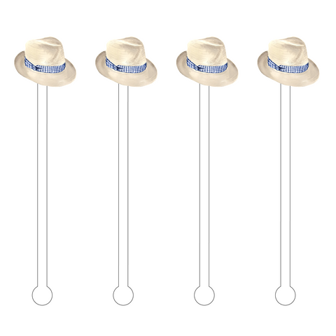 GINGHAM BEACH DAYS ACRYLIC STIR STICKS COMBO